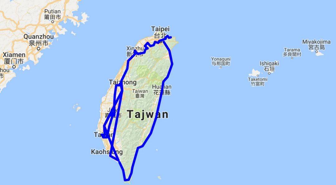 Autostop na Tajwanie - Mapa podróży